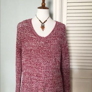 Loose weave sweater brick red & white   Top
